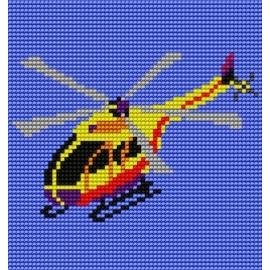 Haft krzyżykowy - do wyboru: kanwa z nadrukiem, nici Ariadna/DMC, wzór graficzny - Helikopter (No 557)