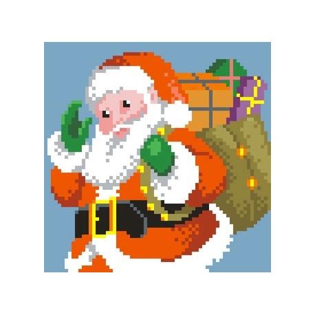 Haft krzyżykowy - do wyboru: kanwa z nadrukiem, nici Ariadna/DMC, wzór graficzny - Święty Mikołaj (No 5261)
