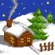 Kanwa z nadrukiem dla dzieci - Domek w zimowy wieczor (No 5263)