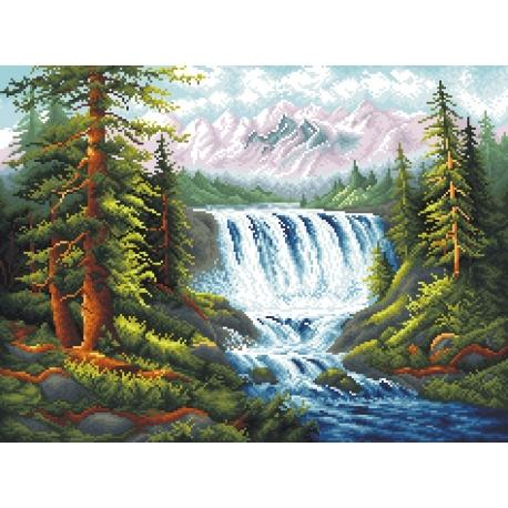 Haft krzyżykowy - do wyboru: kanwa z nadrukiem, nici Aridna/DMC, wzór graficzny Górski wodospad (No 7029)