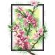 Haft krzyżykowy - do wyboru: kanwa z nadrukiem, nici Ariadna/DMC, wzór graficzny - Kwiat wiśni (No 5279)