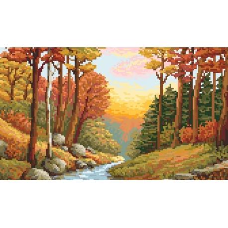 Kanwa z nadrukiem - B. Sikora - Jesienny potok (No 94623)