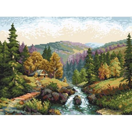 Haft krzyżykowy - do wyboru: kanwa z nadrukiem, nici Ariadna/DMC, wzór graficzny -Dolina z potokiem wg S. Sikora (No 94605)