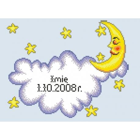 Haft krzyżykowy - do wyboru: kanwa z nadrukiem, nici Ariadna/DMC, wzór graficzny - Chmurka i księżyc (No 5287)