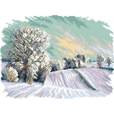 Haft krzyżykowy - do wyboru: kanwa z nadrukiem, nici Ariadna/DMC, wzór graficzny - Cztery pory roku - zima (No 5286)