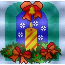 Haft krzyżykowy - do wyboru: kanwa z nadrukiem, nici Ariadna/DMC, wzór graficzny - Świeczka (No 5135)