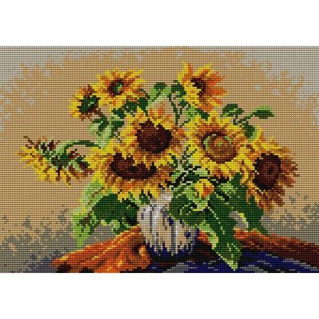 Obrazek do haftu krzyżykowego - kanwa z nadrukiem kolorowym Słoneczniki (No 5013)