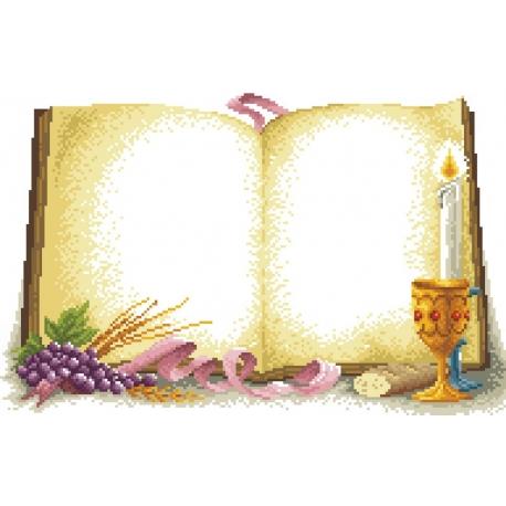 Haft krzyżykowy - do wyboru: kanwa z nadrukiem, nici Ariadna/DMC, wzór graficzny - na prezent z okazji Komunii Świętej (No 5291)