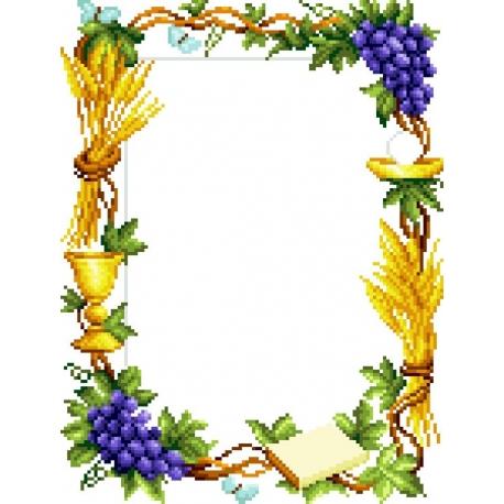 Haft krzyżykowy - do wyboru: kanwa z nadrukiem, nici Ariadna/DMC, wzór graficzny - Komunia święta (No 5294)