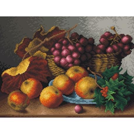 Haft krzyżykowy - do wyboru: kanwa z nadrukiem, nici Ariadna/DMC, wzór graficzny - Martwa natura - czerwone winogrona (No 7038)