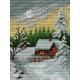 Haft krzyżykowy - do wyboru: kanwa z nadrukiem, nici Ariadna/DMC, wzór graficzny - Chatka zimą (No 5249)
