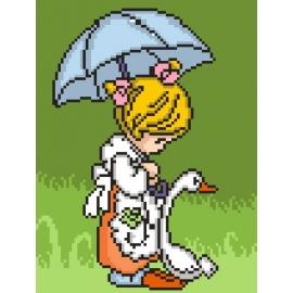 Haft krzyżykowy - do wyboru: kanwa z nadrukiem, nici Ariadna/DMC, wzór graficzny - Dziewczynka z gąską (No 5400)