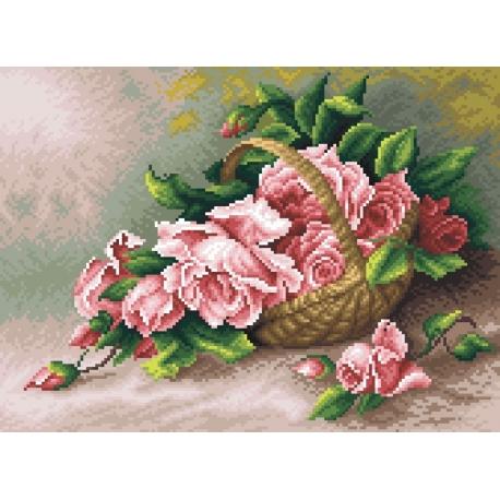 Róże w koszu wiklinowym (No 5296)