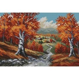 Haft krzyżykowy - do wyboru: kanwa z nadrukiem, nici Ariadna/DMC, wzór graficzny - Jesień wg S. Sikora (No 94018)
