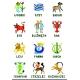 Haft krzyżykowy - do wyboru: kanwa z nadrukiem, nici Ariadna/DMC, wzór graficzny - Znaki zodiaku (No 5295)
