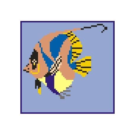 Haft krzyżykowy - do wyboru: kanwa z nadrukiem, nici Ariadna/DMC, wzór graficzny - Rybka (No 575)