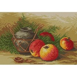 Haft krzyżykowy - do wyboru: kanwa z nadrukiem, nici Ariadna/DMC, wzór graficzny - Martwa natura z jabłkami (No 94020)