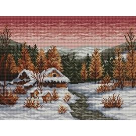 Haft krzyżykowy - do wyboru: kanwa z nadrukiem, nici Ariadna/DMC, wzór graficzny - Zimowy wieczór wg S. Sikora (No 94025)