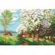 Haft krzyżykowy - do wyboru: kanwa z nadrukiem, nici Ariadna/DMC, wzór graficzny - Wiosenny ogród (No 94647) VI