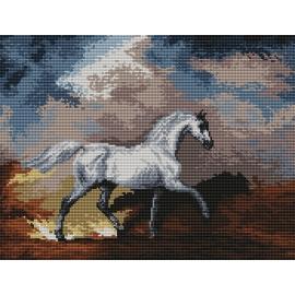 Haft krzyżykowy - do wyboru: kanwa z nadrukiem, nici Ariadna/DMC, wzór graficzny - Koń w burzy wg S. Gilpin (No 94030)