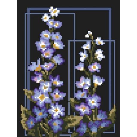 Haft krzyżykowy - do wyboru: kanwa z nadrukiem, nici Ariadna/DMC, wzór graficzny - Delphinium (No 94576)