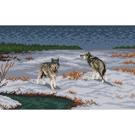 Haft krzyżykowy - do wyboru: kanwa z nadrukiem, nici Ariadna/DMC, wzór graficzny - Nocne polowanie (No 94201)