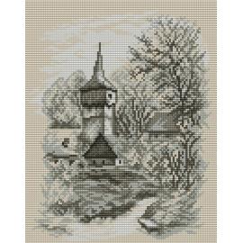 Haft krzyżykowy - do wyboru: kanwa z nadrukiem, nici Ariadna/DMC, wzór graficzny - Kościółek (No 94035)