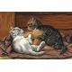 Haft krzyżykowy - do wyboru: kanwa z nadrukiem, nici Ariadna/DMC, wzór graficzny - Bawiące się kotki (No 94186)