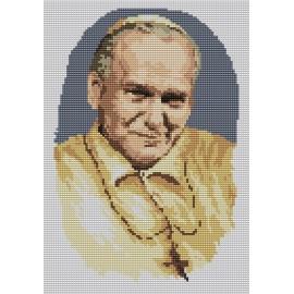 Haft krzyżykowy - do wyboru: kanwa z nadrukiem, nici Ariadna/DMC, wzór graficzny - Jan Paweł II (No 94037) VI
