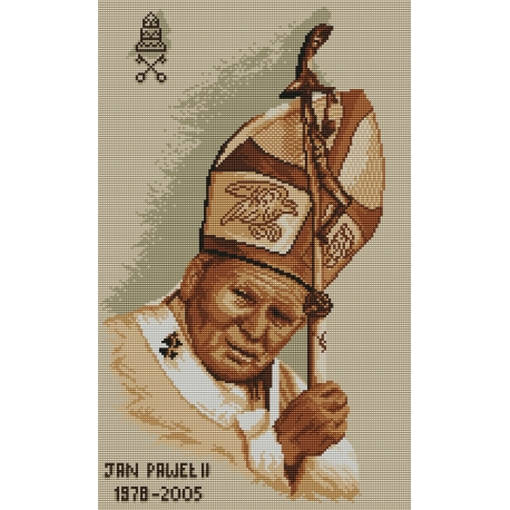 Haft krzyżykowy - do wyboru: kanwa z nadrukiem, nici Ariadna/DMC, wzór graficzny Jan Paweł II (No 94038)