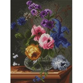 Haft krzyżykowy - do wyboru: kanwa z nadrukiem, nici Ariadna/DMC, wzór graficzny - Kwiaty w szklanym wazonie (No 94039) VI