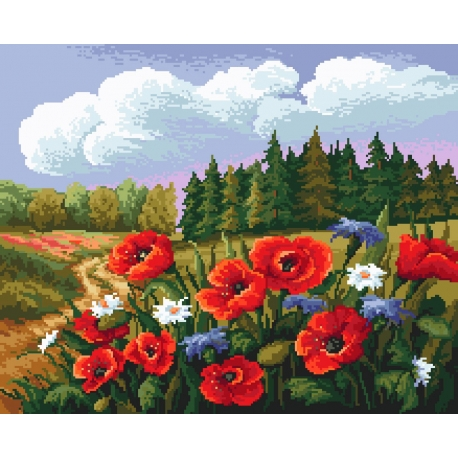 Haft krzyżykowy - do wyboru: kanwa z nadrukiem, nici Ariadna/DMC, wzór graficzny - Letnia łąka (No 9788)