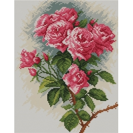 Haft krzyżykowy - do wyboru: kanwa z nadrukiem, nici Ariadna/DMC, wzór graficzny - Róże (No 94045)