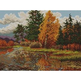 Haft krzyżykowy - do wyboru: kanwa z nadrukiem, nici Ariadna/DMC, wzór graficzny - Pejzaż jesienny (No 94051)