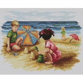 Haft krzyżykowy - do wyboru: kanwa z nadrukiem, nici Ariadna/DMC, wzór graficzny - Dzieci na plaży (No 94501)
