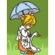 Haft krzyżykowy - do wyboru: kanwa z nadrukiem, nici Ariadna/DMC, wzór graficzny - Dziewczynka i gąska (No 5403)