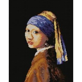 Haft krzyżykowy - do wyboru: kanwa z nadrukiem, nici Ariadna/DMC, wzór graficzny - Dziewczyna z perłą wg J. Vermeera (No 94514)