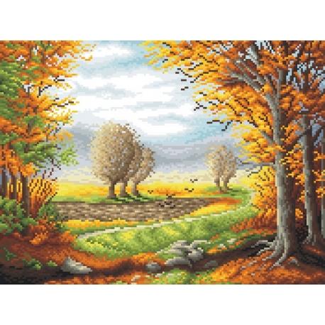Haft krzyżykowy - do wyboru: kanwa z nadrukiem, nici Ariadna/DMC, wzór graficzny - Jesienny poranek P. Gwoździewicz (No 7044)