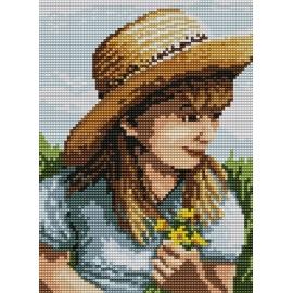 Haft krzyżykowy - do wyboru: kanwa z nadrukiem, nici Ariadna/DMC, wzór graficzny - Dziewczynka z kwiatkami (No 94516)