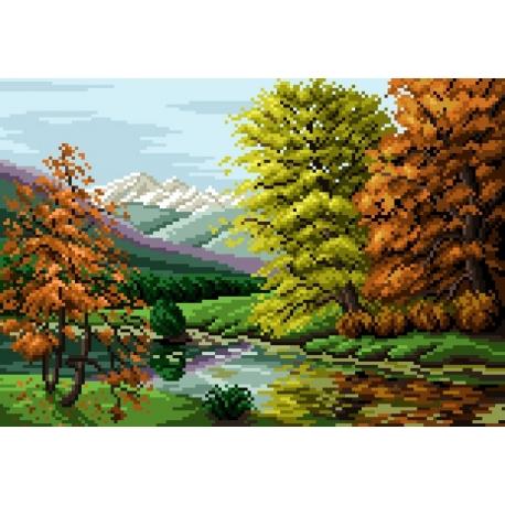 Haft krzyżykowy - do wyboru: kanwa z nadrukiem, nici Ariadna/DMC, wzór graficzny - Krajobraz jesienny (No 5304) VI