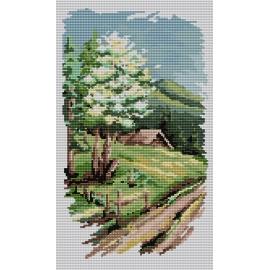 Haft krzyżykowy - do wyboru: kanwa z nadrukiem, nici Ariadna/DMC, wzór graficzny - Cztery pory roku - wiosna (No 94523)