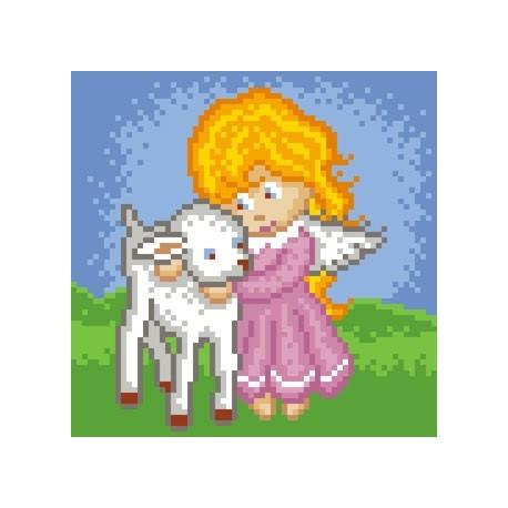 Haft krzyżykowy - do wyboru: kanwa z nadrukiem, nici Ariadna/DMC, wzór graficzny - Aniołek z owieczką (No 5552)