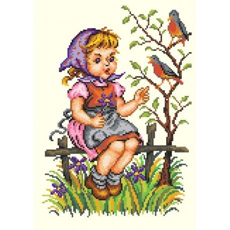 Haft krzyżykowy - do wyboru: kanwa z nadrukiem, nici Ariadna/DMC, wzór graficzny - Dziewczynka z ptaszkiem (No 5300)