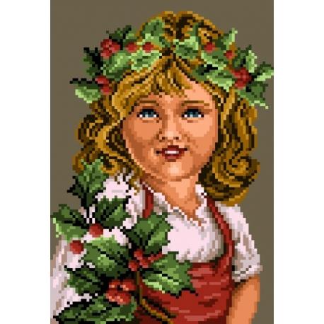 Haft krzyżykowy - do wyboru: kanwa z nadrukiem, nici Ariadna/DMC, wzór graficzny - Dziewczynka (No 5409)