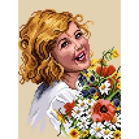 Haft krzyżykowy - do wyboru: kanwa z nadrukiem, nici Ariadna/DMC, wzór graficzny - Uśmiechnięta dziewczynka (No 5411) VI