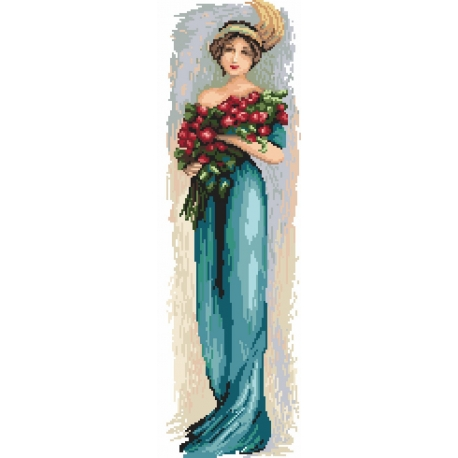 Haft krzyżykowy - do wyboru: kanwa z nadrukiem, nici Ariadna/DMC, wzór graficzny - Kobieta z kwiatami (No 94545)