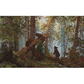 Haft krzyżykowy - wybór: kanwa z nadrukiem, nici Ariadna/DMC, wzór graficzny - Poranek w sosnowym lesie Szyszkin VI (No 9748)