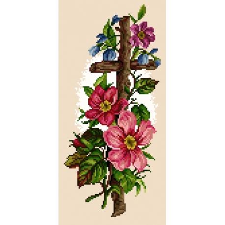 Haft krzyżykowy - do wyboru: kanwa z nadrukiem, nici Ariadna/DMC, wzór graficzny - Drewniany krzyż (No 5316)