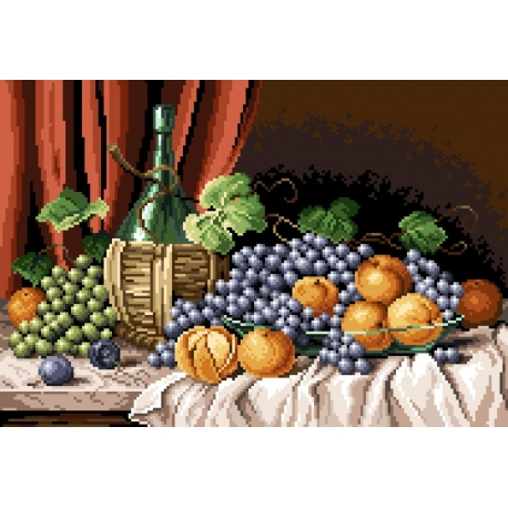 Haft krzyżykowy - do wyboru: kanwa z nadrukiem, nici Ariadna/DMC, wzór graficzny - Martwa natura - owoce (No 7053)