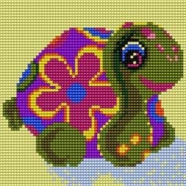Haft krzyżykowy - do wyboru: kanwa z nadrukiem, nici Ariadna/DMC, wzór graficzny - Żółwik (No 5170)